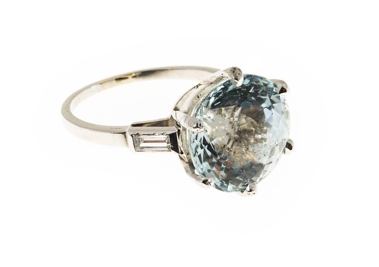 aquamarine platinum engagement ring at 1stdibs