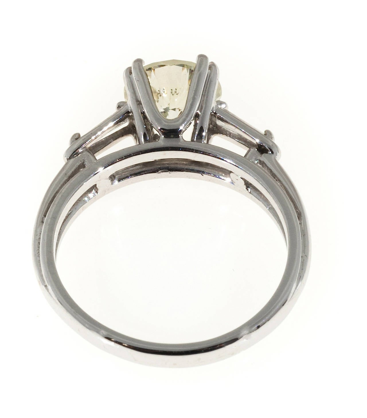 European ideal cut diamond baguette gold wire setting ring at 1stdibs