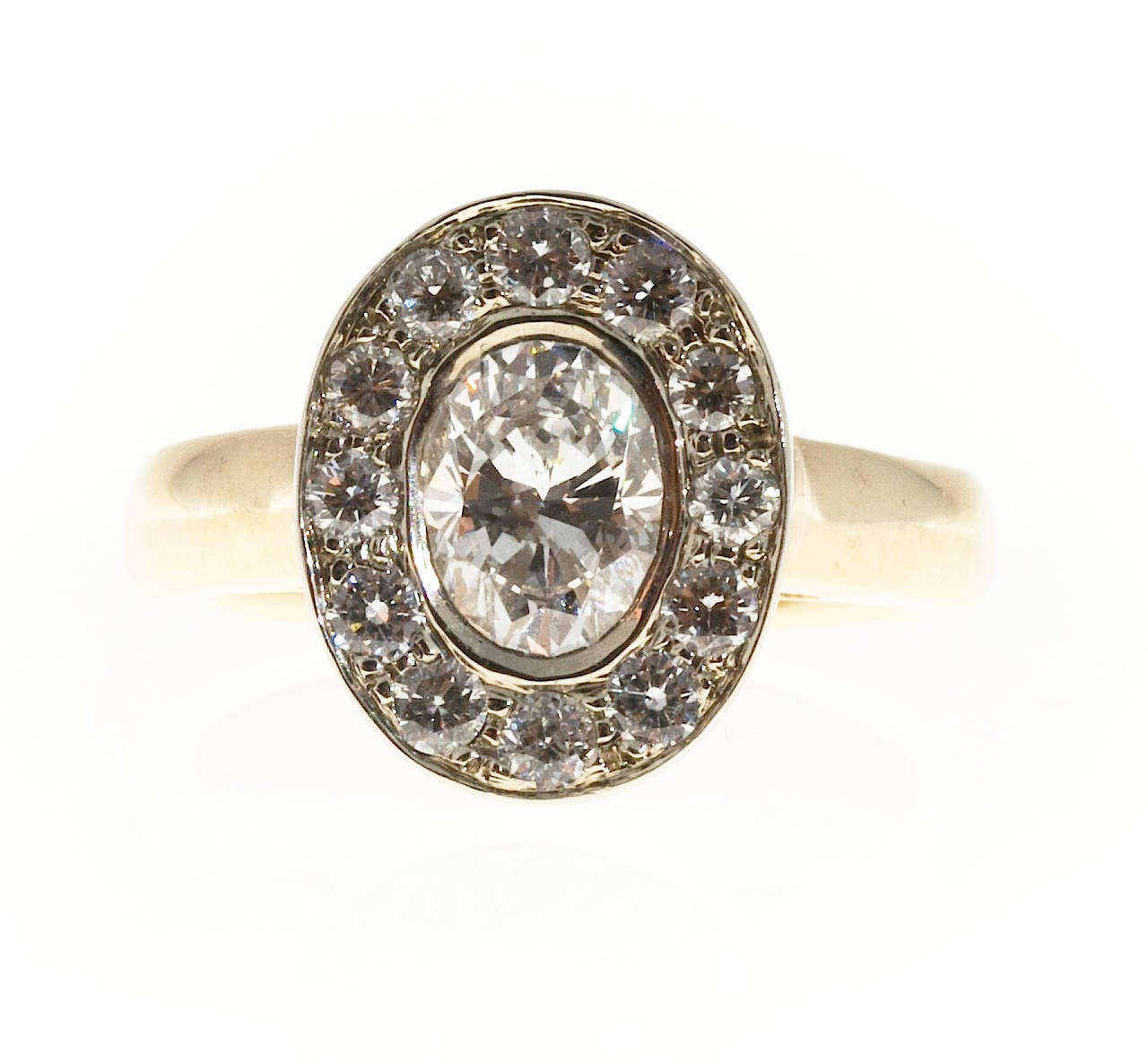 Oval Diamond Gold Halo Ring 2