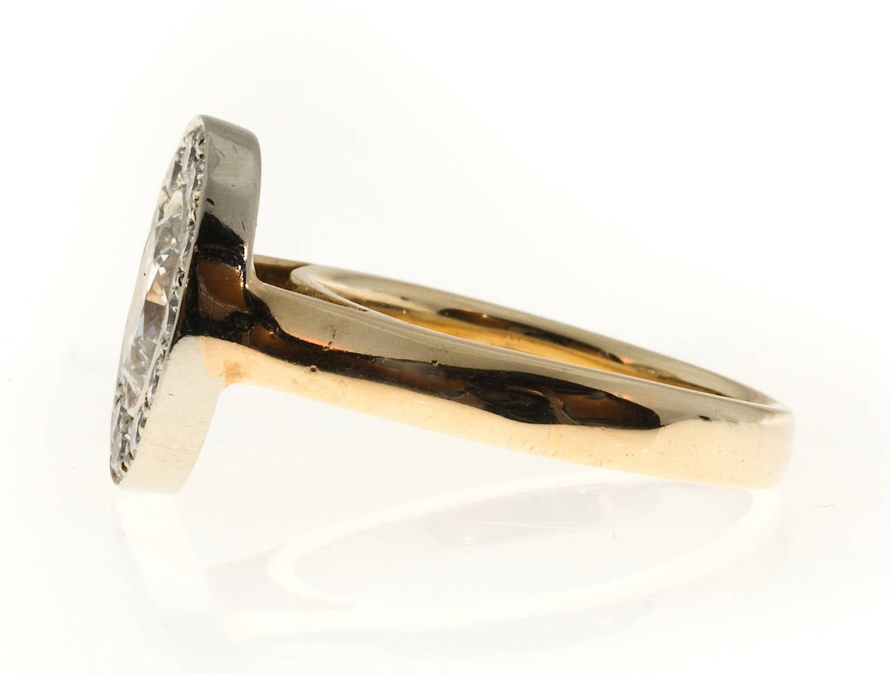 Oval Diamond Gold Halo Ring 6