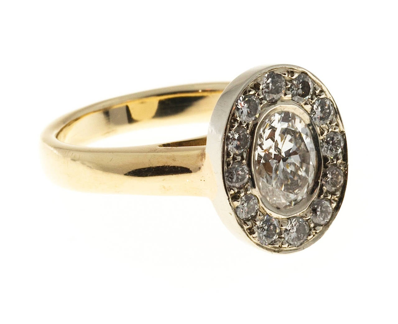 Oval Diamond Gold Halo Ring 5