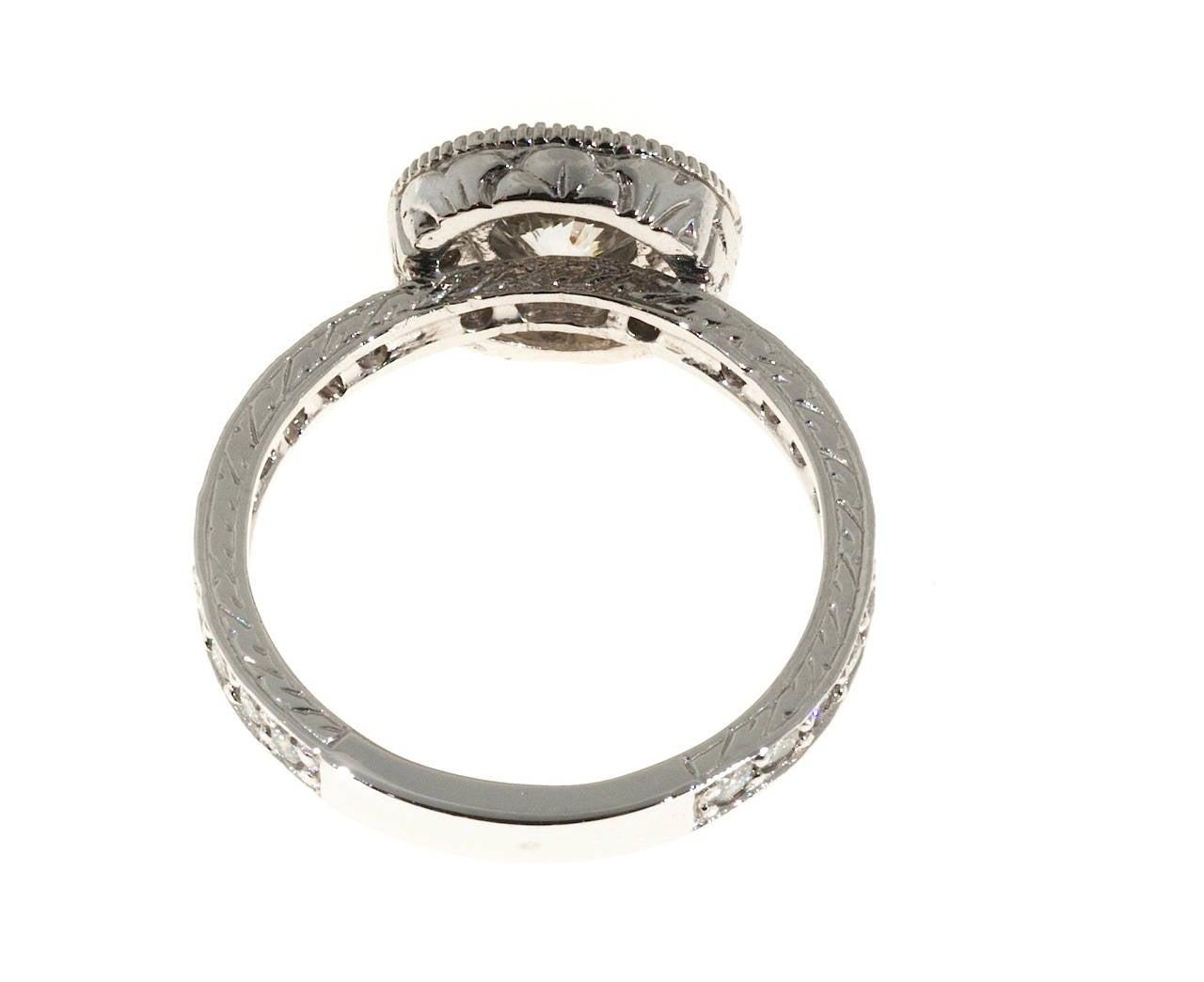 Engraved platinum ring : Antique diamond micro pave engraved platinum ring for sale