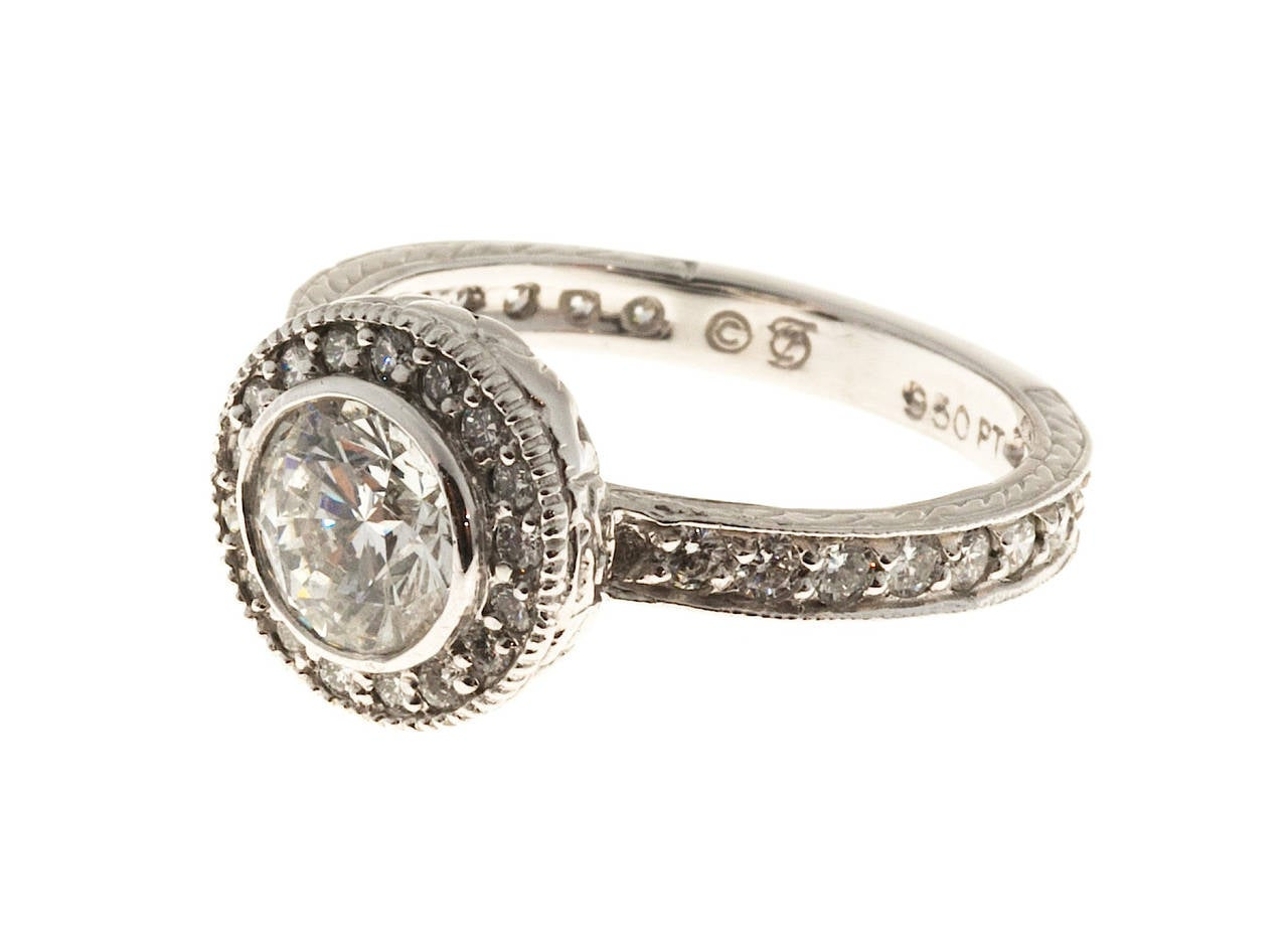 Antique Diamond Micro Pave Engraved Platinum Ring For Sale at 1stdibs