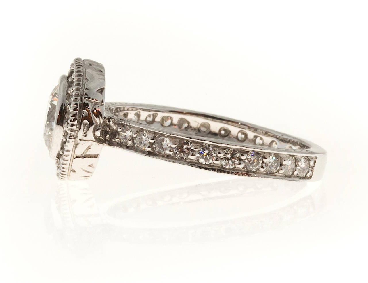 antique micro pave engraved platinum ring for sale
