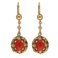 Vintage 14k Italian European Style Wire Top Oval Coral Cabochon Dangle Earrings
