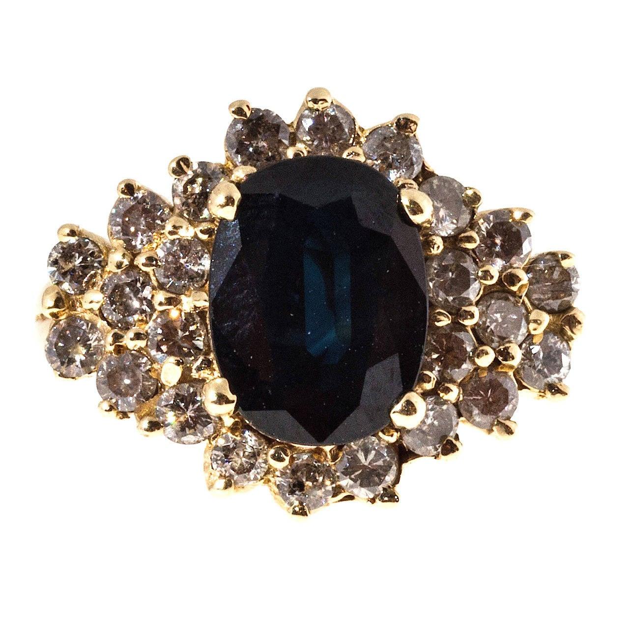 Deep Royal Blue Sapphire Diamond Gold Ring 1