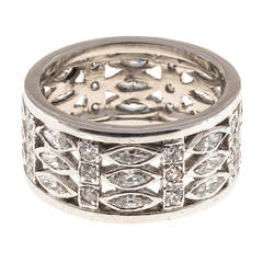 Three Row Wide Marquise and Round Diamond Platinum Eternity Ring