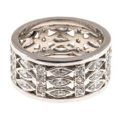 Three Row Wide Marquise and Round Diamond Platinum Eternity Ring