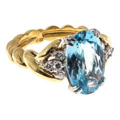 Natural Rare Oval Aquamarine Diamond Gold Ring