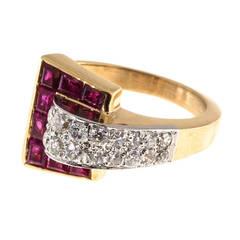 Ruby Diamond Gold Platinum Buckle Ring