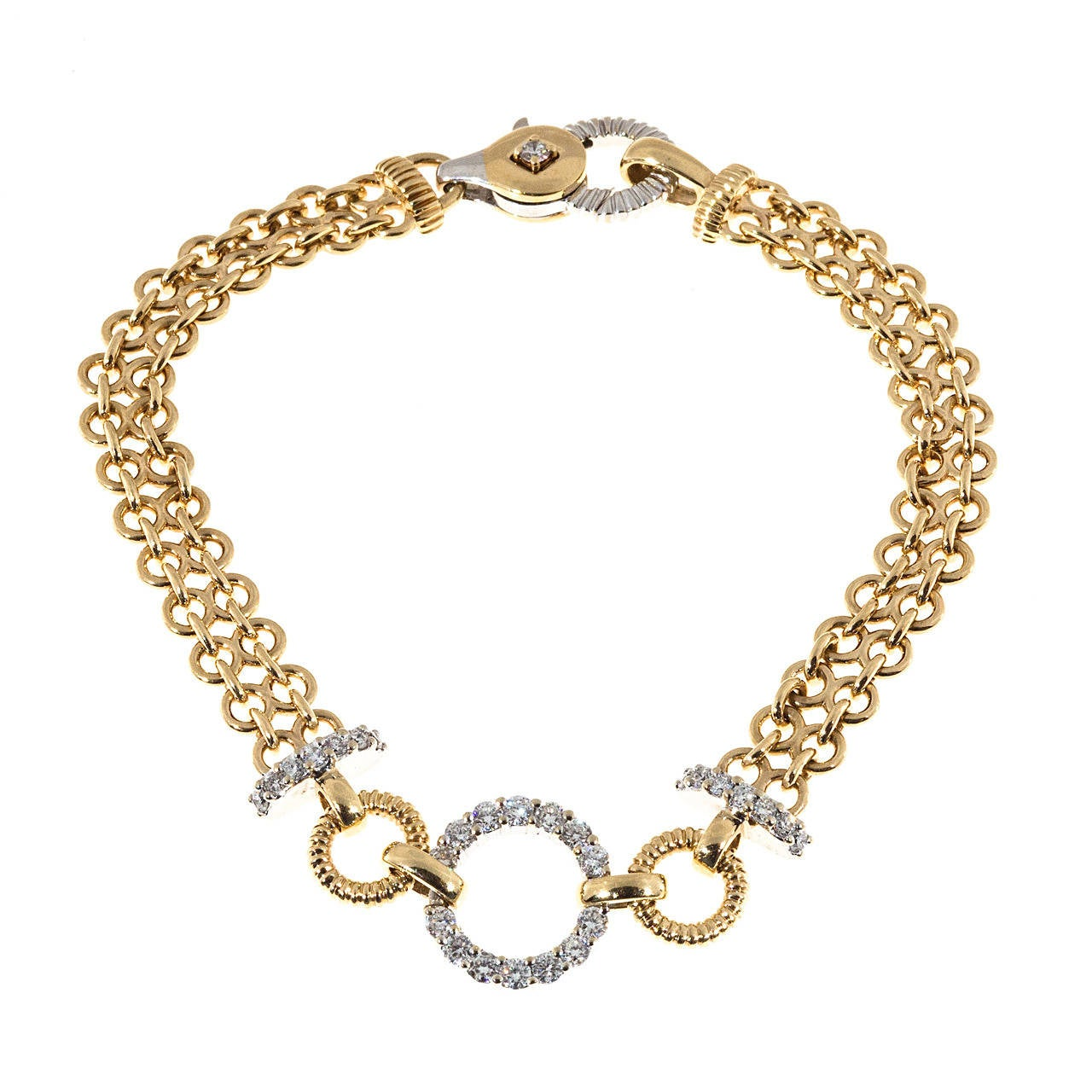 Diamond Gold Two Row Chain Link Circle Bracelet For Sale