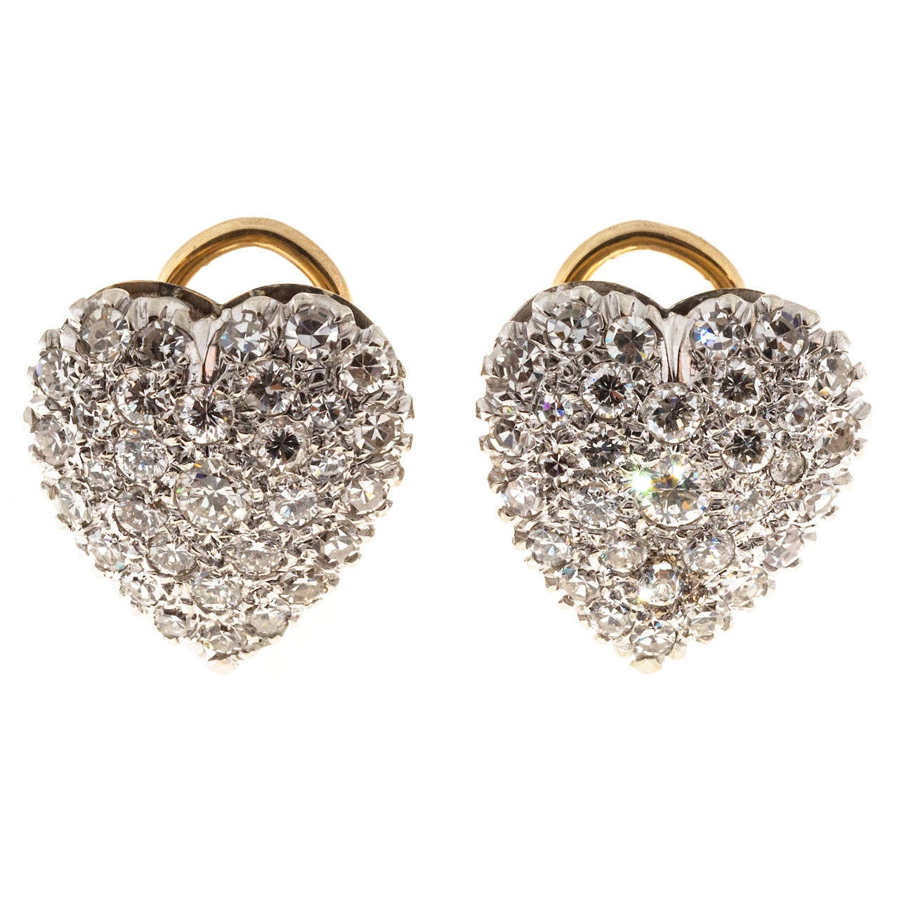 1.85 Carat Pave Diamond Two Tone Gold Heart Clip Post Earrings