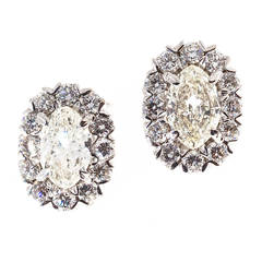 Peter Suchy Halo Design Marquise and Round Diamond White Gold Earrings