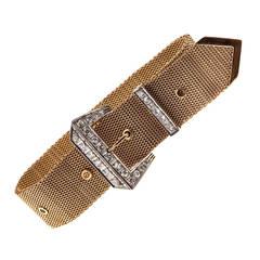 Bright White Diamond Two Color Gold Nine Inch Buckle Bracelet circa 1940