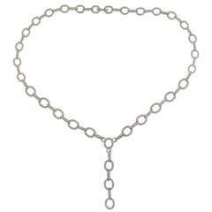 4.50 Carat Diamond Gold Y Design Drop Link Necklace