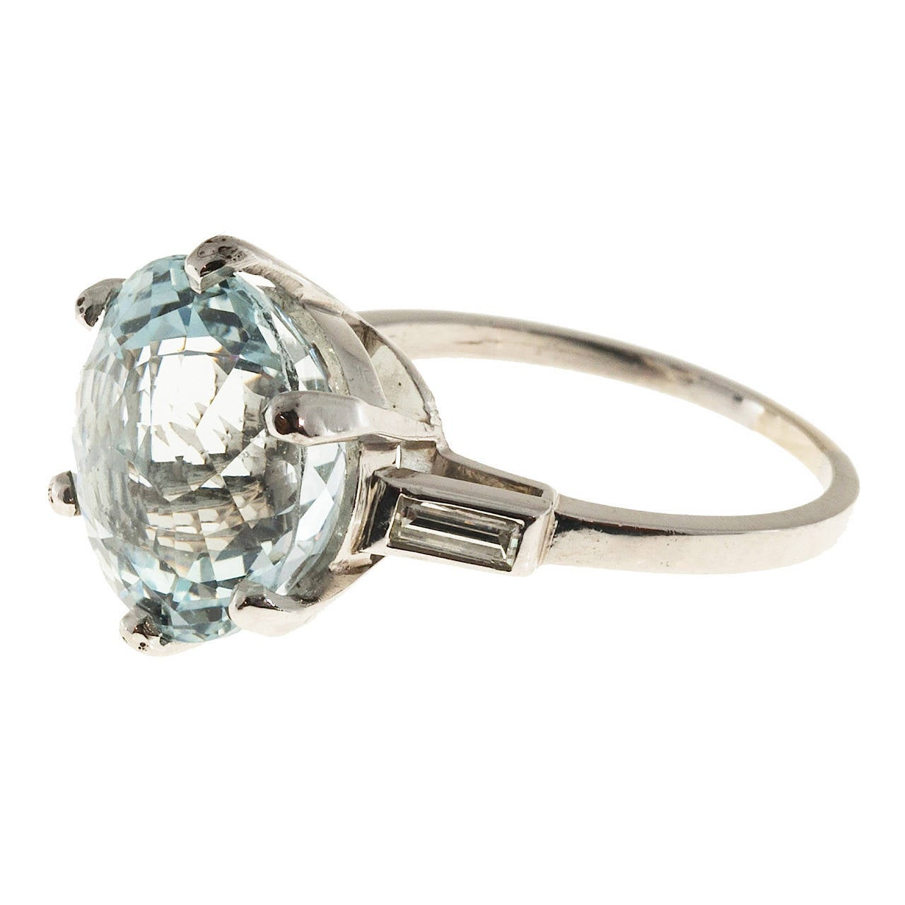 aquamarine platinum engagement ring at 1stdibs