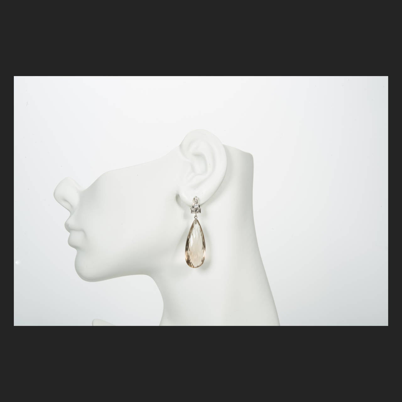 Briolette Smoky Quartz Diamond Gold Dangle Earrings 3