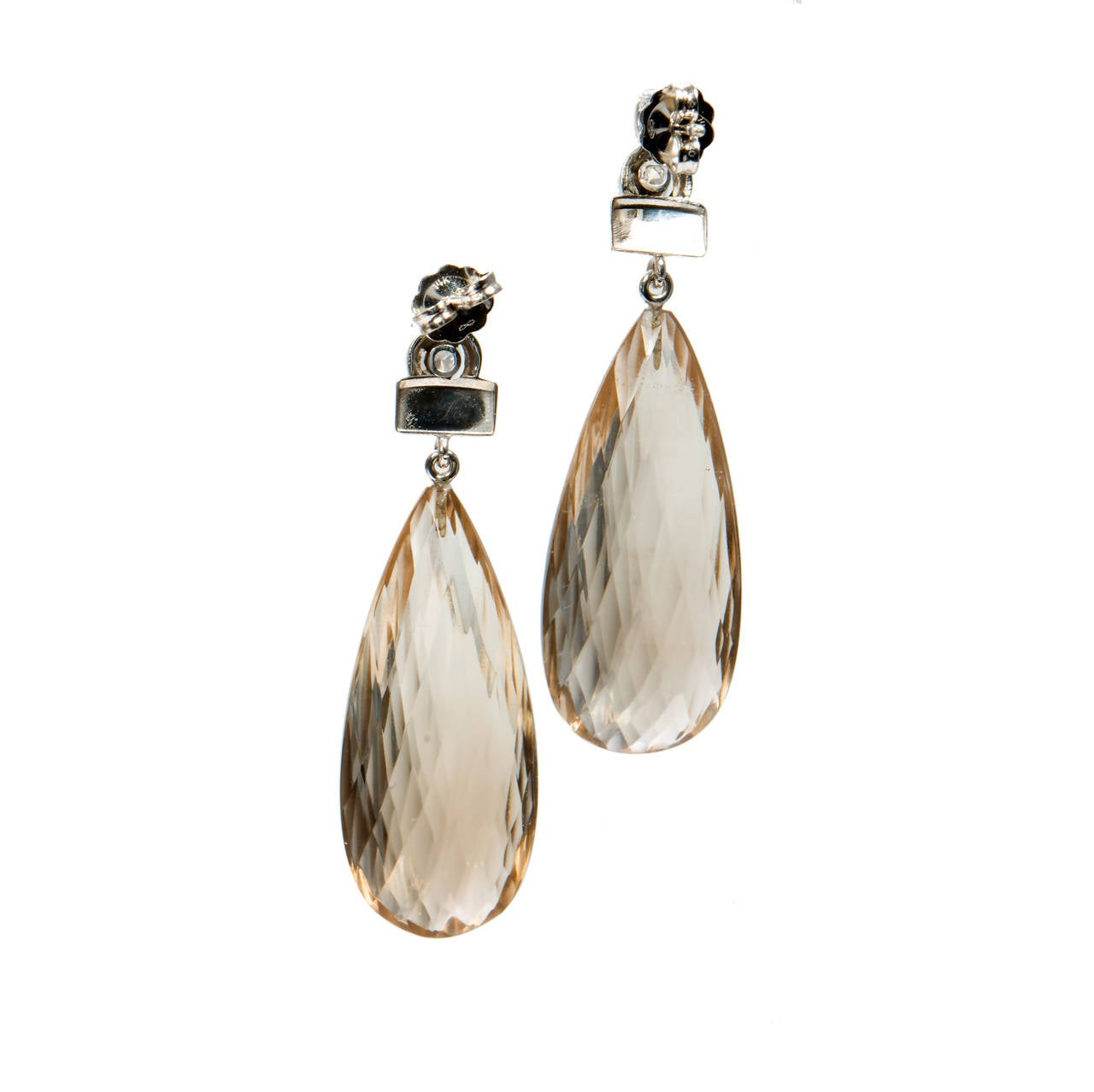 Briolette Smoky Quartz Diamond Gold Dangle Earrings 4