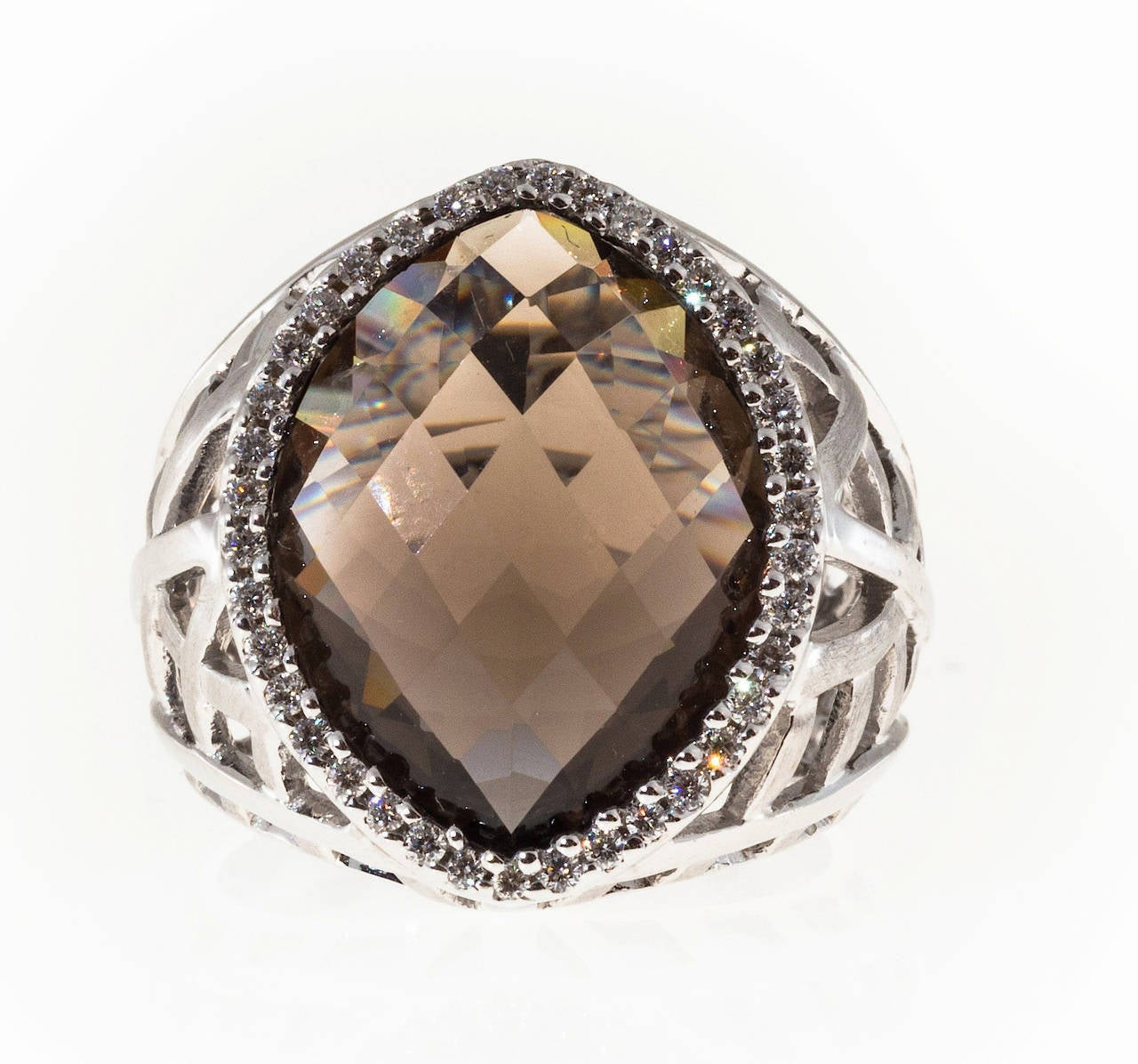 faceted marquise smoky topaz gold ring for sale at