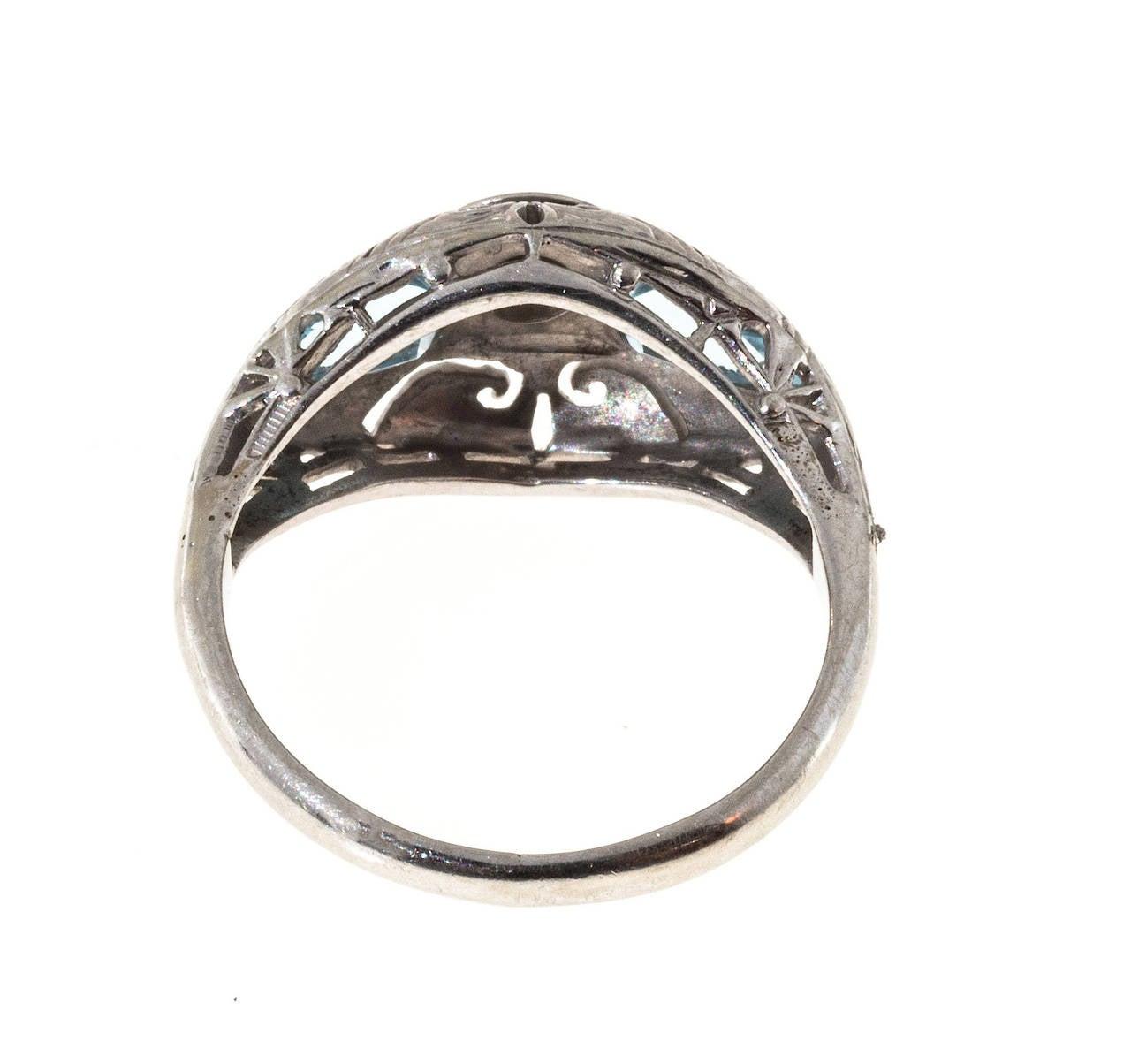 Art Deco Shield Cut Aquamarine Diamond Gold Ring 5