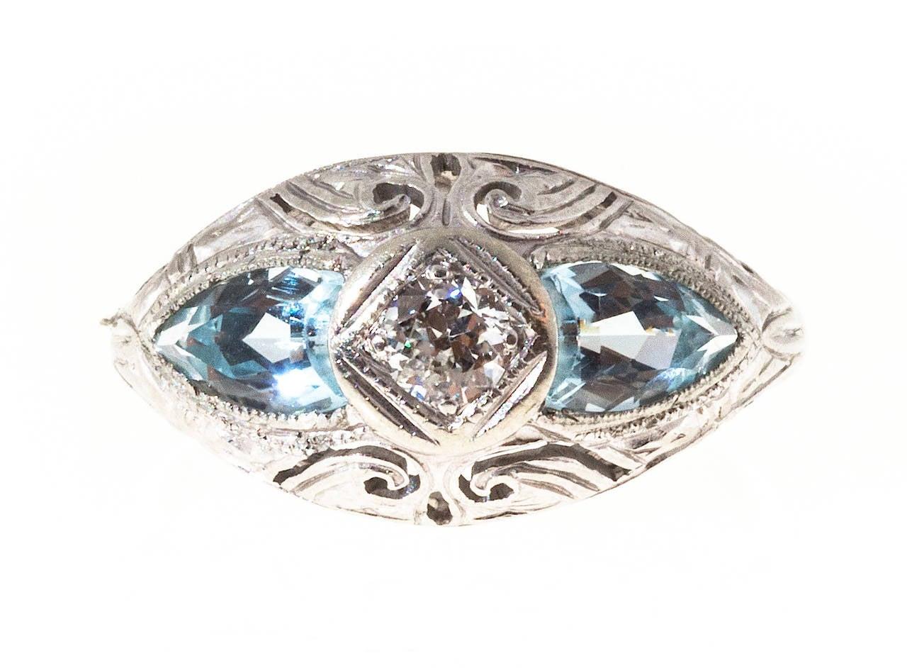 Old European Cut Art Deco Shield Cut Aquamarine Diamond Gold Ring For Sale