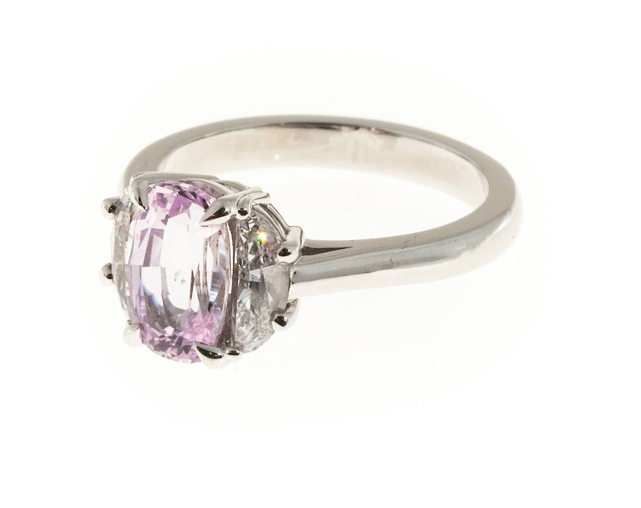 Peter Suchy Natural Light Pink Cushion Sapphire Diamond Platinum Ring For Sal
