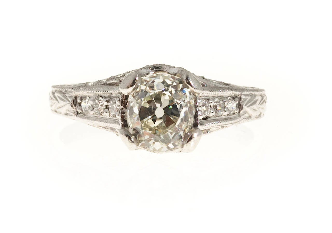 Antique Cushion Cut Round Pave Diamond Platinum Ring For Sale at 1stdibs