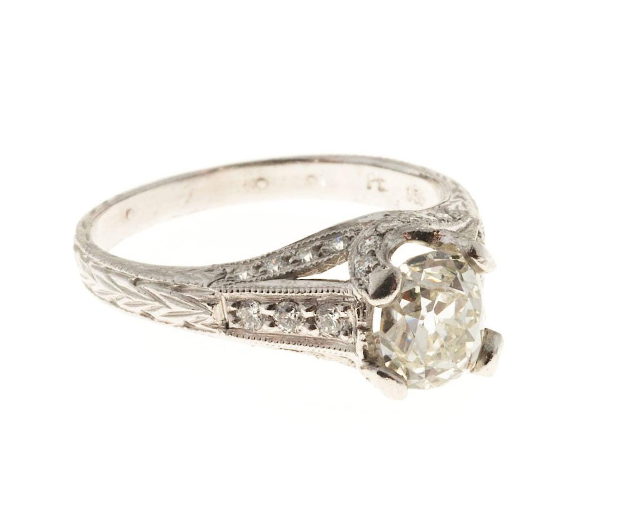 antique cushion cut pave platinum ring for