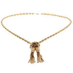 WJT Solid Rope Chain Adjustable Tassel Slide Gold Necklace