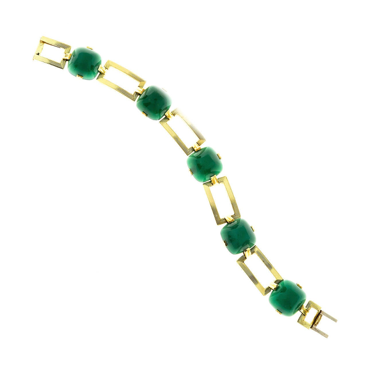 Retro Art Deco Sugarloaf Cut Green Onyx Gold Bracelet
