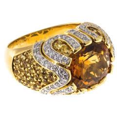 Ariel 4.50 Carat Orange Citrine Sapphire Diamond Gold Raised Dome Cocktail Ring