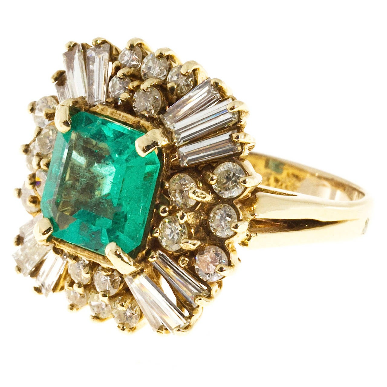 Emerald And Baguette Round Diamond Princess Ring For Sale