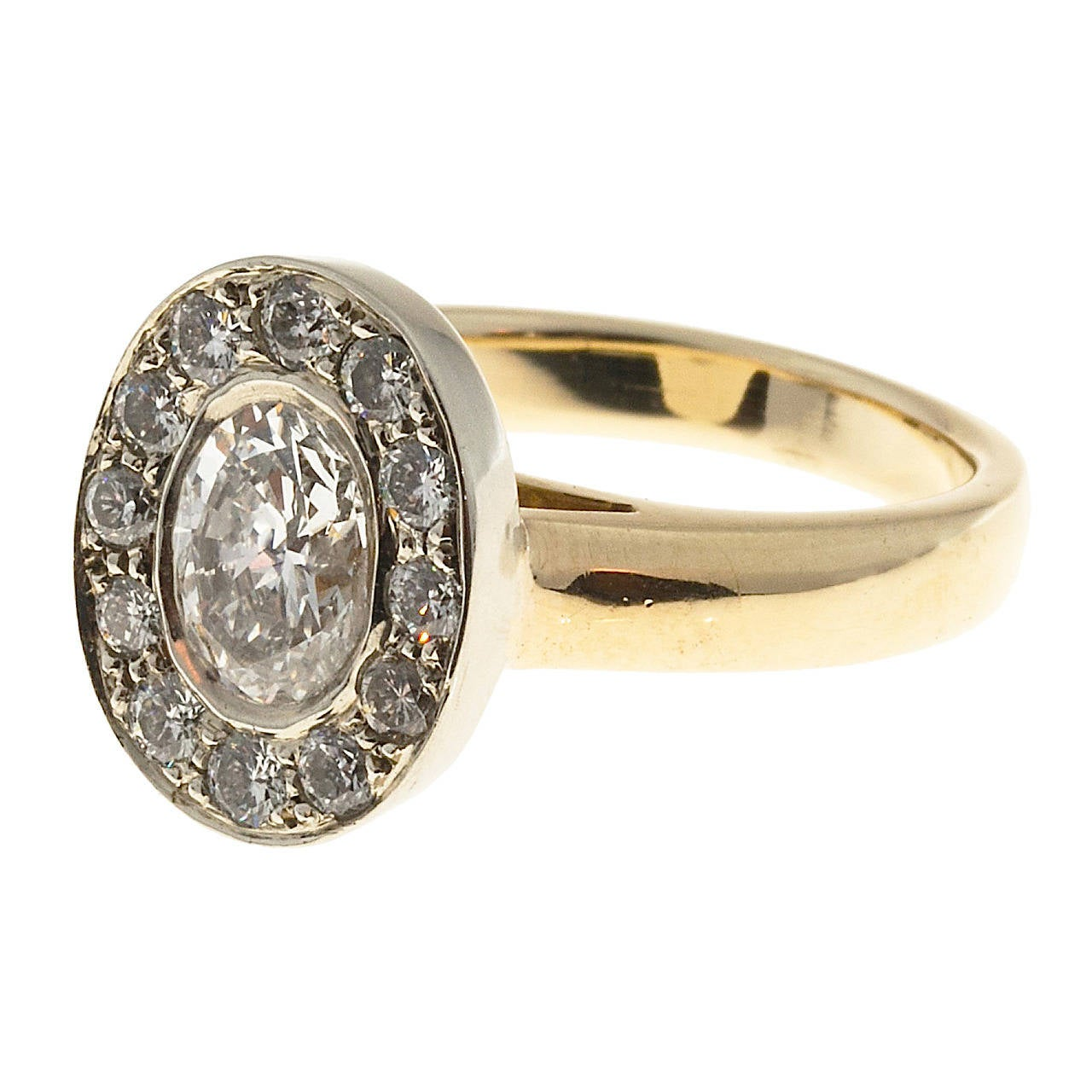 Oval Diamond Gold Halo Ring 1