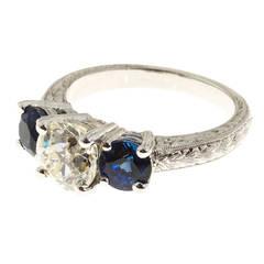 Peter Suchy Three Stone Old European Cut Diamond and Sapphire Platinum Ring