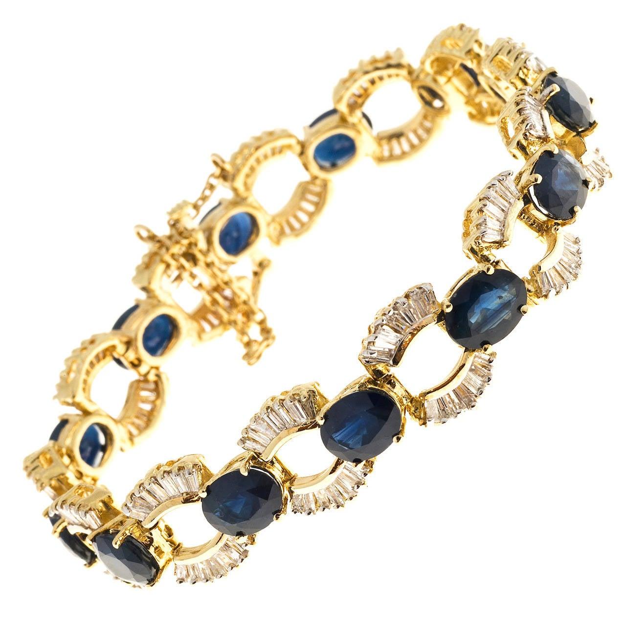 Sapphire Baguette Diamond Gold U Link Bracelet