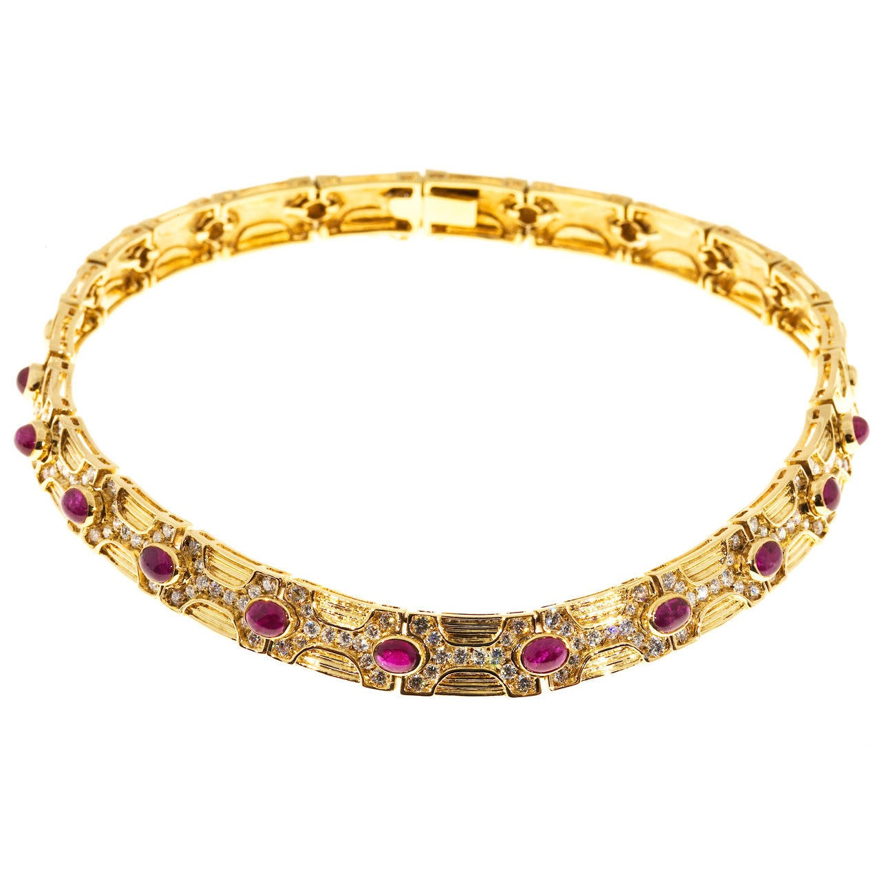 Oval Ruby Diamond Gold Hinged Link Necklace