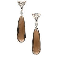 Smoky Quartz Briolette Diamond Gold Dangle Earrings
