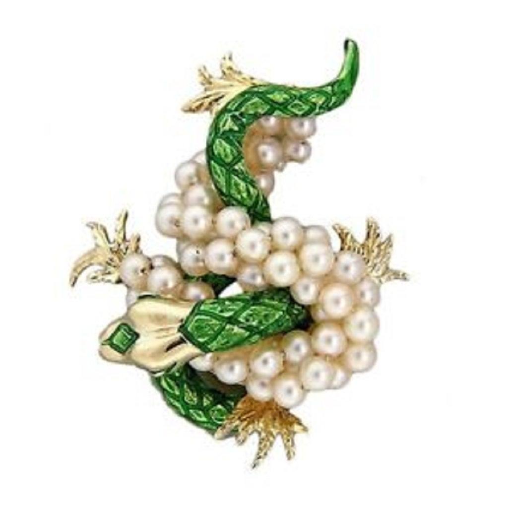 Green Enamel  Freshwater Pearl Gold Dragon Pin 3