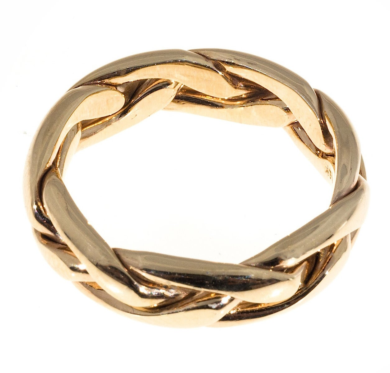 Samuel jewels hand wrapped woven three row gold wedding for Woven wedding ring