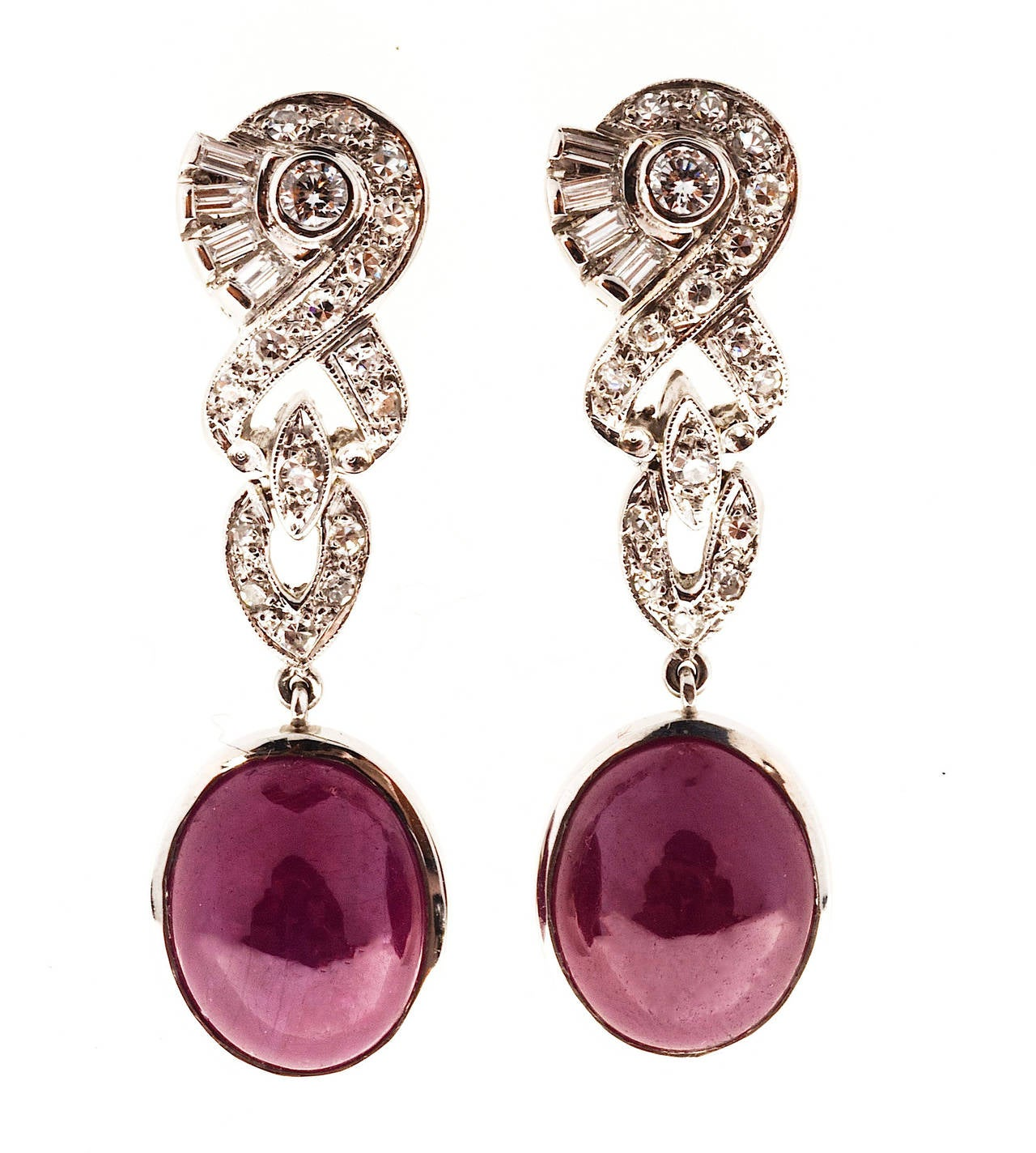 Natural Cabochon Gia Cert Fine Red Ruby Diamond Platinum Dangle Earrings 3