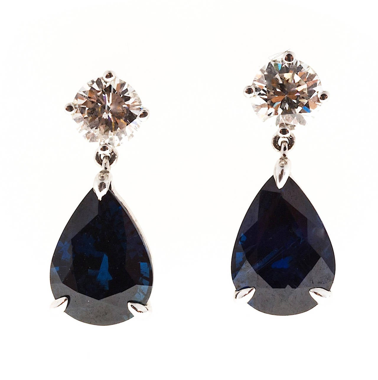 Women's Royal Blue Pear Shaped Sapphire Diamond Gold Dangle Earrings For Sale