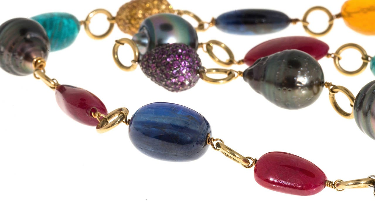 Garnet Pearl Sapphire Ruby Aqua Opal Tourmaline Gold Bead Necklace For Sale 2