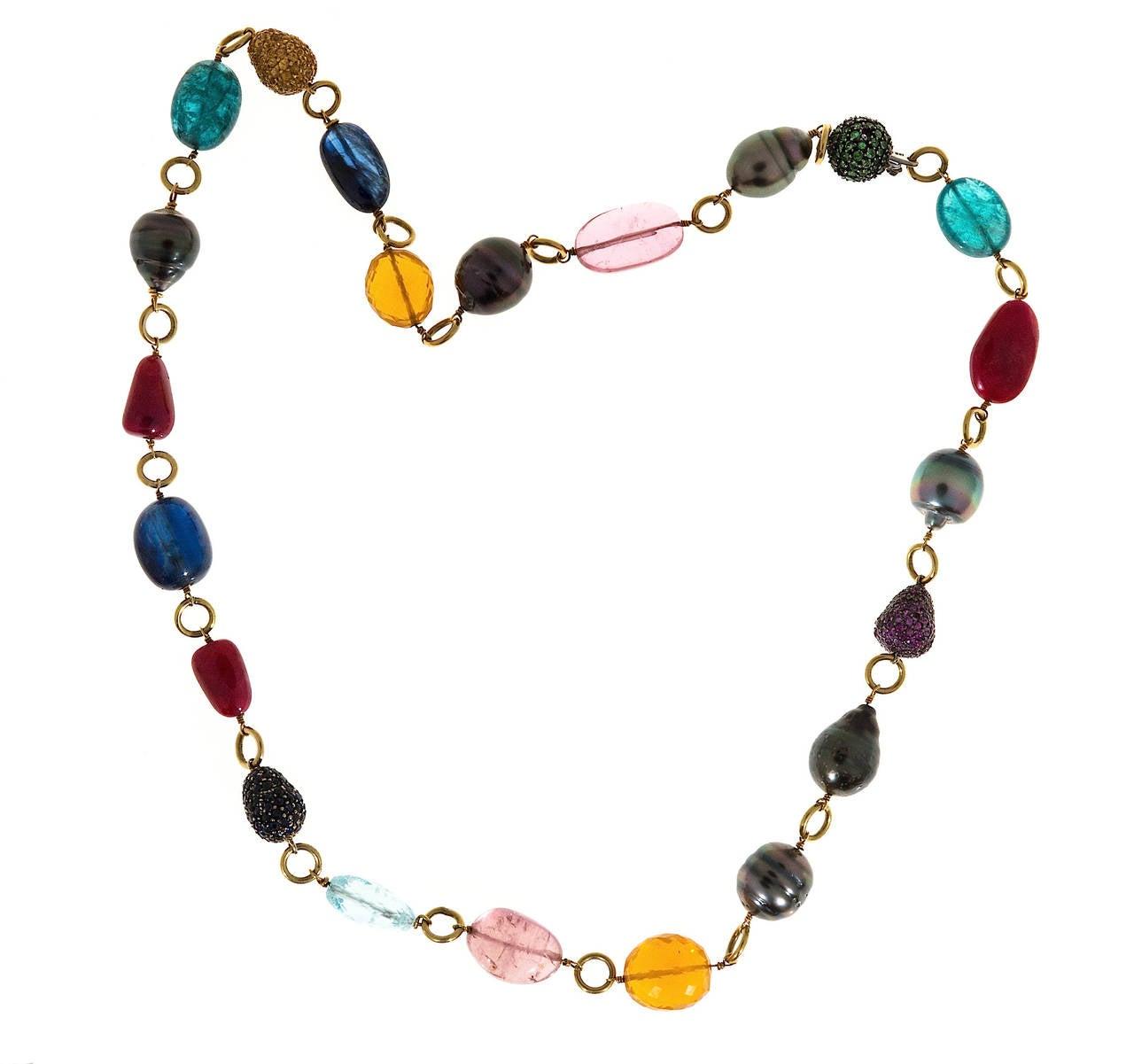 Women's Garnet Pearl Sapphire Ruby Aqua Opal Tourmaline Gold Bead Necklace For Sale