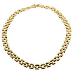 RC Gold Three Row Panther Link Necklace