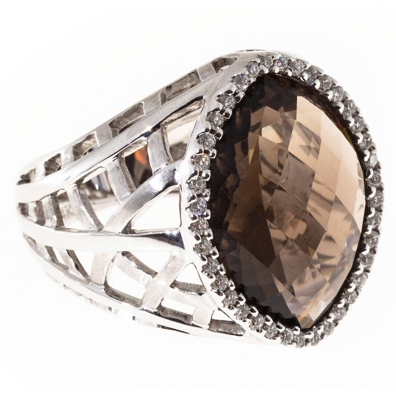 Faceted Marquise Smoky Topaz Diamond Gold Ring