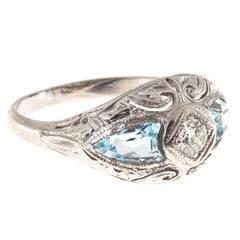 Art Deco Shield Cut Aquamarine Diamond Gold Ring