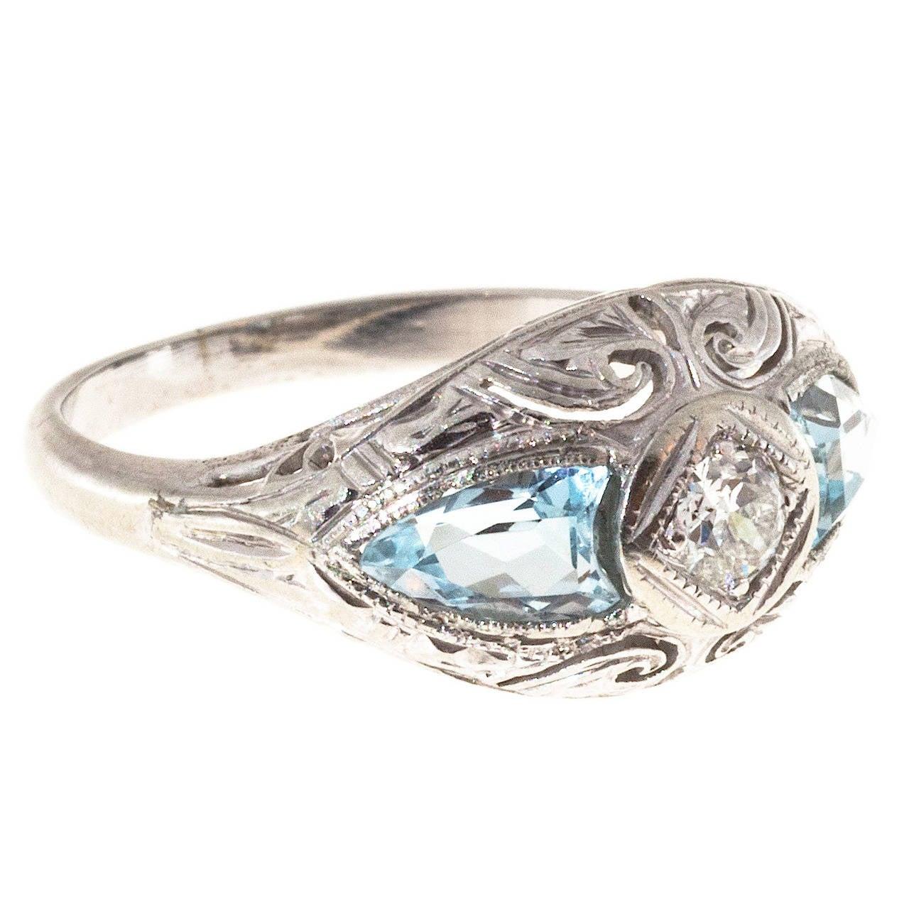 Art Deco Shield Cut Aquamarine Diamond Gold Ring For Sale