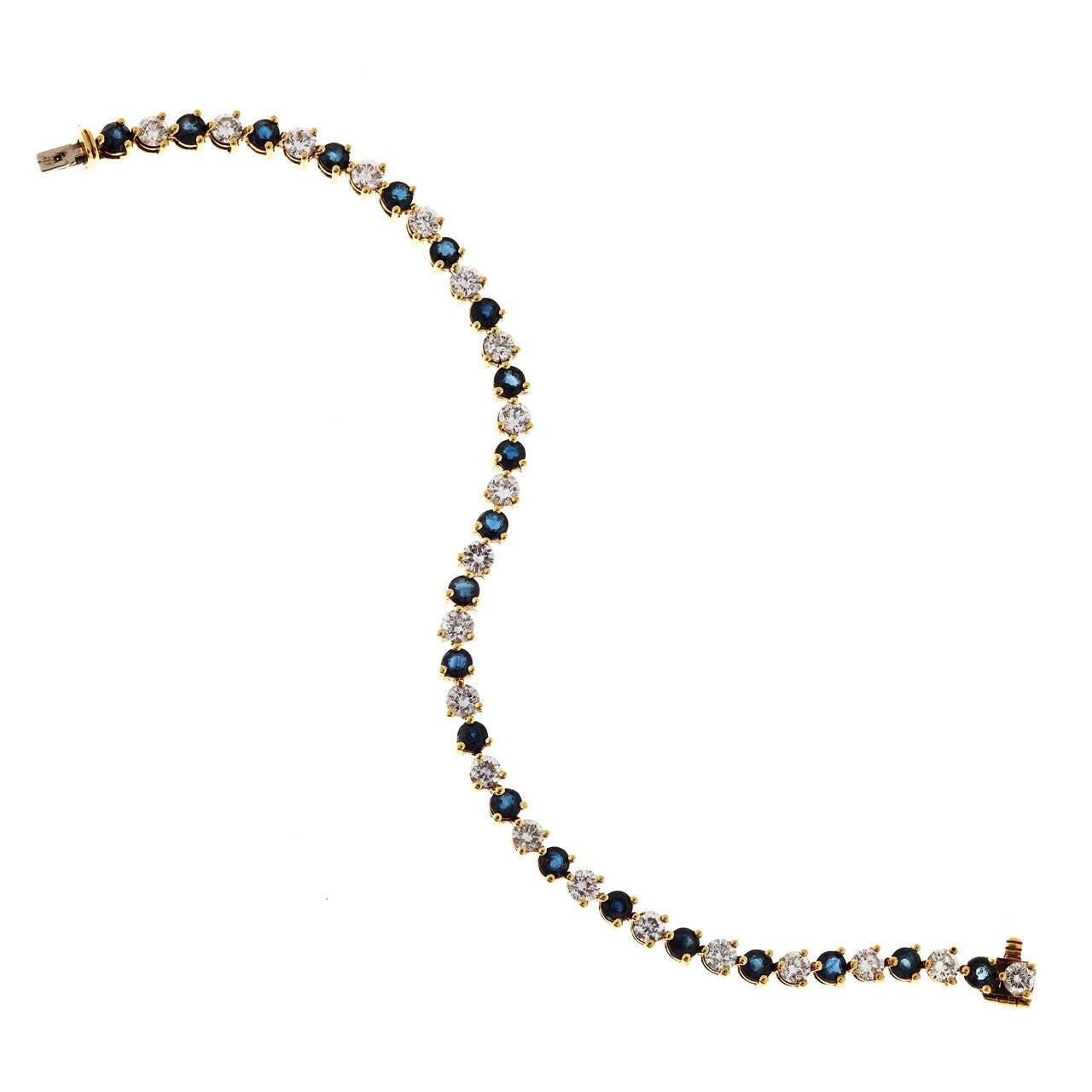 Sapphire Diamond Gold Hinged Link Bracelet