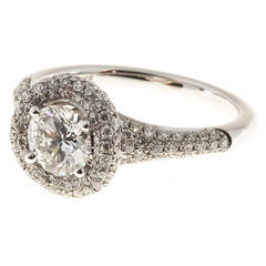 Sylvie Round Diamond Micro Pave Halo Gold Ring