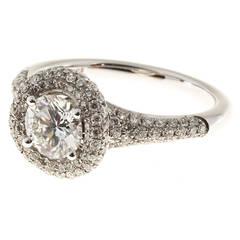 Sylvie Round Diamond Micro Pave Halo Gold Ring
